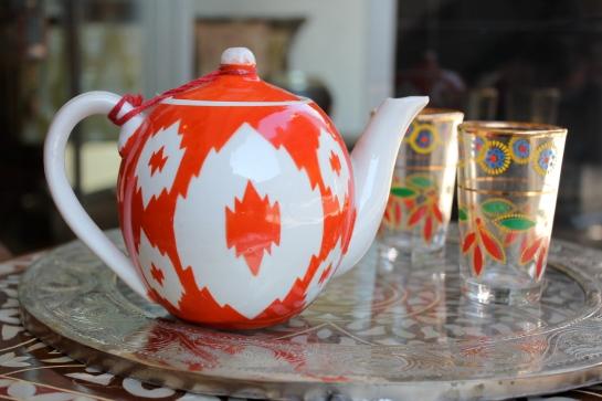 orange ikat teapot